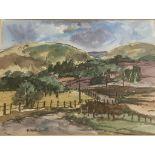 """Robert Hardie Condie RSW 1898 - 1981 signed watercolour """"Winding Road in the Grampians"""""""