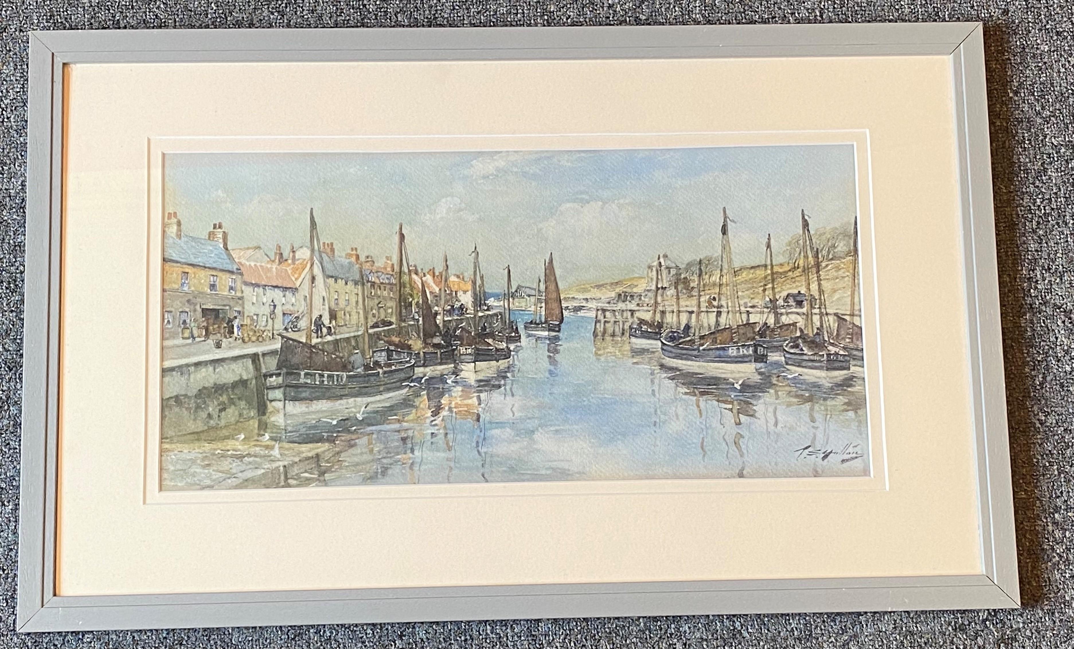 Thomas Swift Hutton 1860-1935 (Scottish) signed watercolour Eyemouth harbour