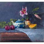 Peter Munro Contemporary Scottish Artist, Oil Still Life Little Blue Tea Pot