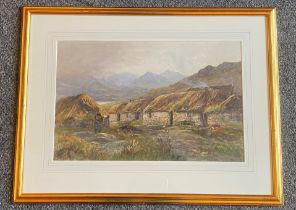 "Finlay Mackinnon 1870 - 1931 Scottish signed watercolour ""Black houses Skye"""