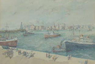 Watercolour. Cruise Liners & Cargo Ships Docking.