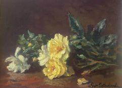 Original Signed Oil Scottish Based Artist. Alan Gordon Dunnett Sutherland - Dog Roses