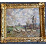 Albert Abram Gittleson (Scottish fl.1911-1940) signed large oil painting Winter Pasture