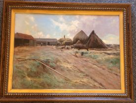 Large Robert Russell McNee (1880-1952, Scottish) signed oil painting Stacking the Hay