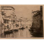 Lucien Gautier pencil signed etching Venice scene