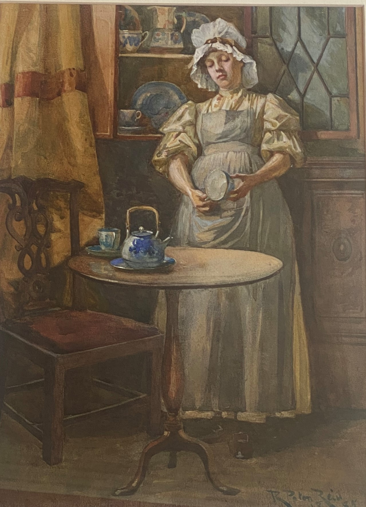 Original Signed Watercolour. Robert Paton Reid (1859 - 1945) - The Kitchen Maid