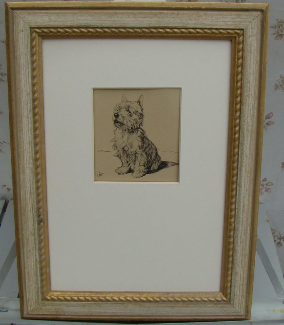 Skye Terrier. Framed Pen & Ink Drawing. - Image 3 of 3
