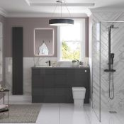 New (Y105) Onyx Grey Gloss Slim WC Unit 600mm. RRP £355.00. Durable 18mm Cabinet, Sides And B...