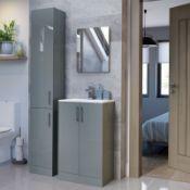 New (Y106) Volta 300mm 2 Door Floor Standing Tall Unit - Grey Gloss. RRP £326.00. Soft Close...