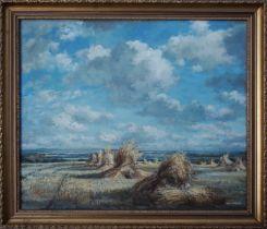 MAX HOFLER (British 1892-1963), Corn Stooks, signed Oil Painting