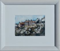 SHIELA R MCDONALD (SCOTTISH) Homes on the Hill. Signed Water Colour