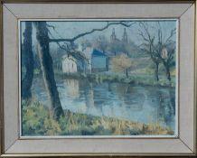 MARGARET ROBERTSON (SCOTTISH) Winter Kelvingrove, signed Oil Painting