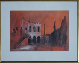 A ARAD, Quiet Time, signed Gouache Painting