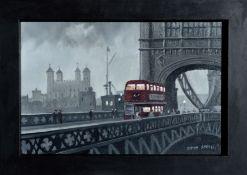 STEVEN SCHOLES (1952- English), Tower Bridge London, Signed Oil Painting