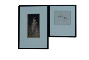 TROY KINNEY (US 1871-1938), Serenade, signed etching, and one other (2)