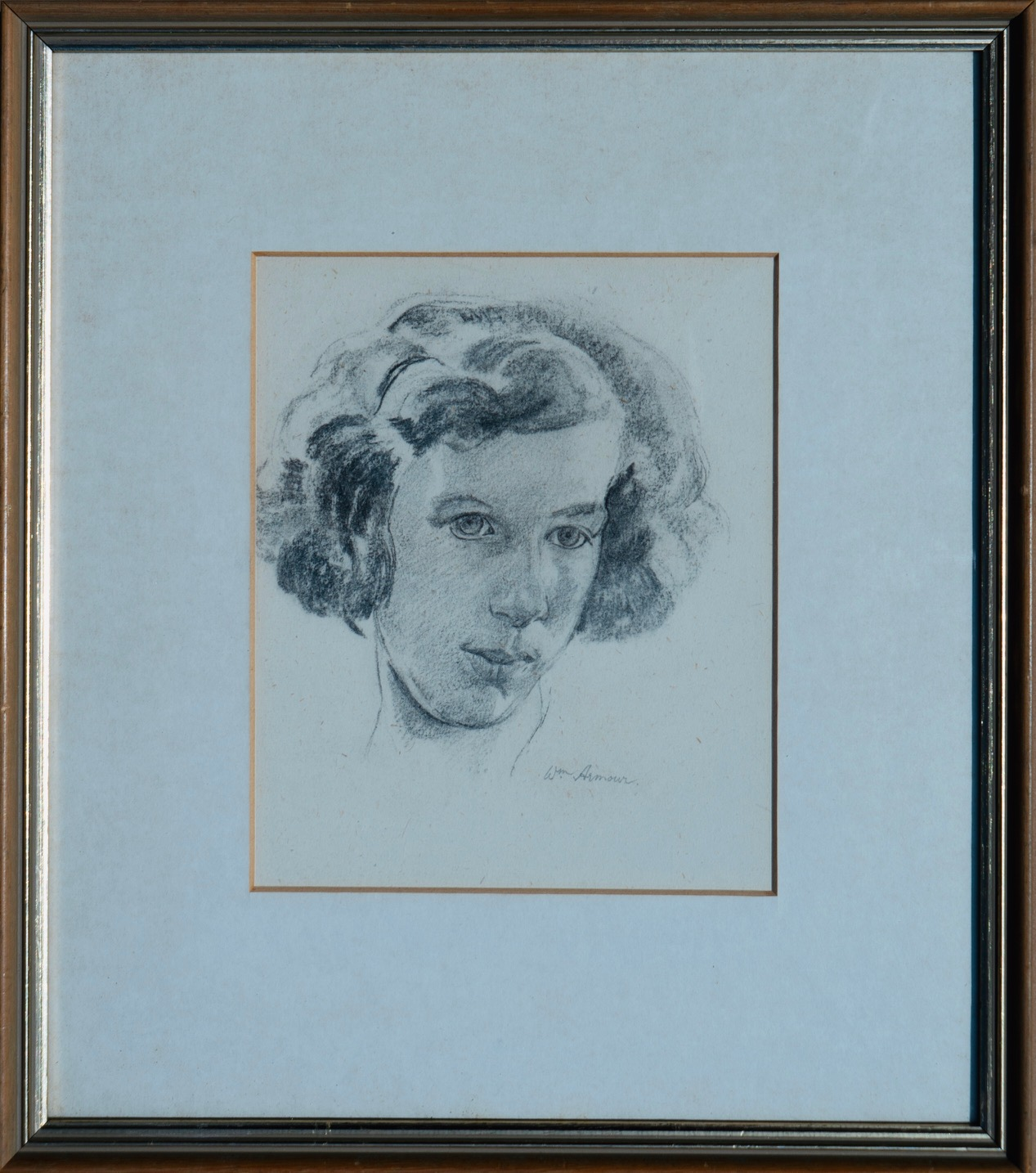 WILLIAM ARMOUR RSA RSW RGI (SCOTTISH 1903-1979), Head of a Girl, signed Charcoal Drawing