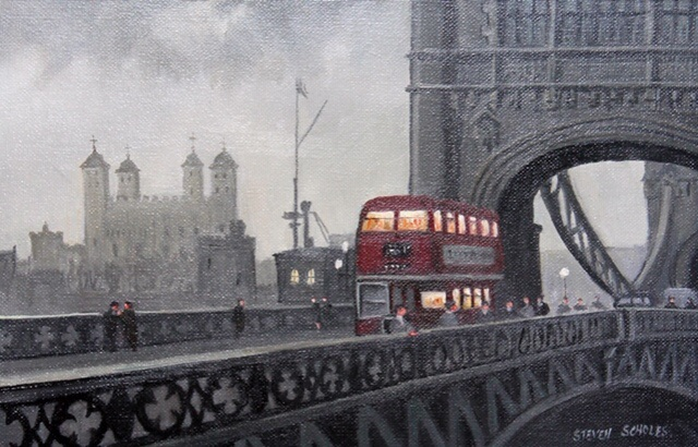 STEVEN SCHOLES (1952- English), Tower Bridge London, Signed Oil Painting - Image 2 of 2