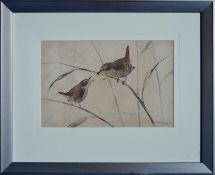 RALSTON GUDGEON RSW (SCOTTISH 1910 - 1984), Feeding Wrens, Signed Water Colour