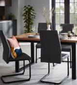 (R10H) 2x Skelby Cantilever Dining Chairs Grey RRP £90. Metal Frame With Black Powder Coat Finish.