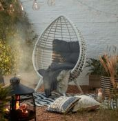 (R16) 1x Rattan Pod Egg Chair White RRP £350. (H156 x W101 x D89 cm ) No Fixings With This Unit.