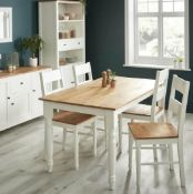 (R7G) 2x Laura Ladder Back Dining Chairs RRP £125. Solid Oak Seat. White Painted Pine Wood Legs.