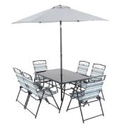 (R16) 1x Wexfordly 6 Seater Folding Dining Set RRP £200. Foldable Chairs For Easy Storage. Tempere