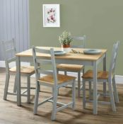 (R10I) 1x Mortimer Pine Dining Set With 4 Chairs RRP £200. Solid Wood Chairs with Cool Grey Paint