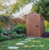 (R16) 1x Keter Darwin 4x6 Outdoor Plastic Garden Shed Brown RRP £340. Dimensions (H)205 x (W)125.
