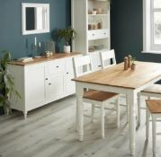 (R10F) 1x Laura Sideboard RRP £250. Pine Wood And MDF Cabinet Body White With Oak Top And Handles,