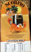 1980 Vintage Double Sided Guinness Calendar Month Print *6