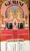1980 Vintage Double Sided Guinness Calendar Month Print *4