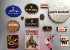 Box of Vintage Guinness Collectables Money Box, Badges, Labels, Beer Mats, Matchboxes