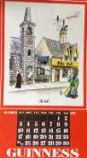 "1976 Vintage Guinness Calendar Print –Pub Names"" Artwork *2"