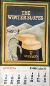 1979 Vintage Guinness Calendar Month Print –The Winter Slopes –