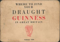"""–Where to find your Draught Guinness in Great Britain"""" 1959 Original Handbook"""