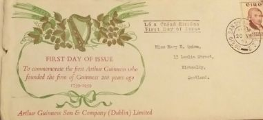 1959 Arthur Guinness First Day Cover,Envelope, And Stamps