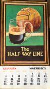 1979 Vintage Guinness Calendar Month Print –The Half Way Line –
