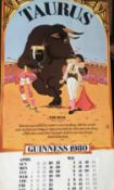 1980 Vintage Double Sided Guinness Calendar Month Print *2