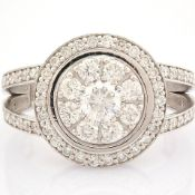 HRD Antwerp Certificated 18K White Gold Diamond Ring (Total 1.09 Ct. Stone)