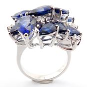 HRD Antwerp Certificated 14K White Gold Diamond & Sapphire Ring (Total 6.4 Ct. Stone)