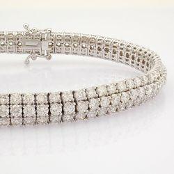 HRD Antwerp Certificated 18K White Gold Diamond Bracelet (Total 8.8 Ct. Stone)
