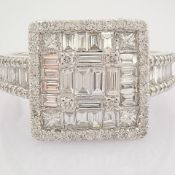HRD Antwerp Certificated 14K White Gold Diamond Ring (Total 1.38 Ct. Stone)