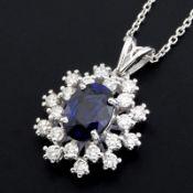 HRD Antwerp Certificated 18K White Gold Diamond & Sapphire Pendant (Total 1.77 Ct. )