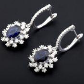 HRD Antwerp Certificated 18K White Gold Diamond & Sapphire Earring (Total 3.6 Ct. )
