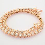 HRD Antwerp Certificated 14K Rose/Pink Gold Diamond Bracelet (Total 2.10 Ct. Stone)