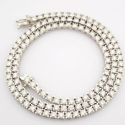 HRD Antwerp Certificated 18K White Gold Diamond Necklace (Total 11.1 Ct. Stone)