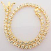 HRD Antwerp Certificated 14K Yellow Gold Diamond Bracelet (Total 2.10 Ct. Stone)