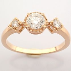 HRD Antwerp Certificated 14k Rose/Pink Gold Diamond Ring (Total 0.49 Ct. Stone)