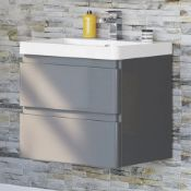 New & Boxed 600 mm Denver II Grey Built In Basin Drawer Unit - Wall Hung. RRP £849.99. Mf2402...