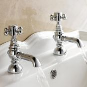 New & Boxed Traditional Pair Of Hot And Cold Basin Sink Taps - Chrome Vintage Faucets. Tb31. ...